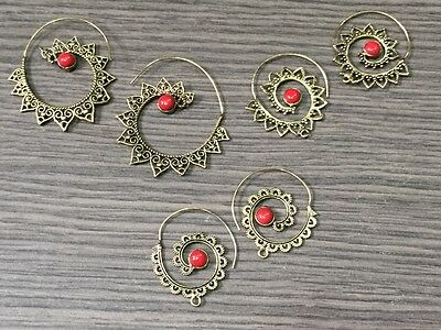 WHOLESALE LOT 3 pcs RED CORAL STONE.925 SOLID BRASS VINTAGE EARRING 27 GMS