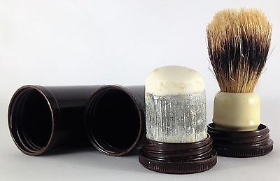 Vintage Bakelite Shaving Brush & Soap Containers-Complete-x2