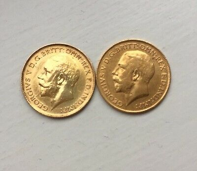 Two George V Gold Half Sovereign Coins 1914 1915