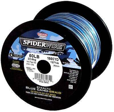 Spiderwire Stealth Braided Fishing Line 30LB 1500yds Bulk Spool Braid BLUE CAMO