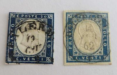 Italy 1863 embossed issue 15c x2  used