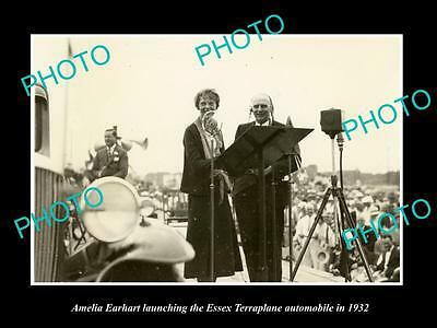 Old Large Historic Photo Of Amelia Earhart At The Essex Terraplane Launch 1932 2
