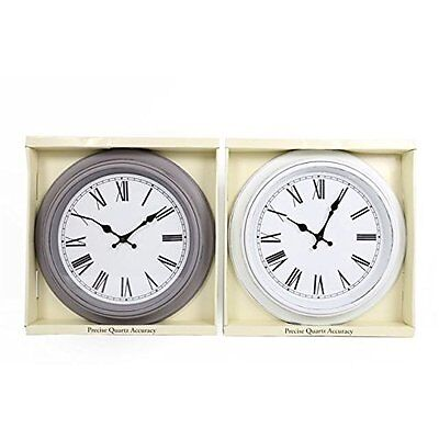 Quartz Antique Shabby Chic French Style Round Large Wall Clock White Or Grey