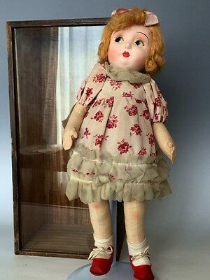 Vintage Japanese Flirty Eyes Mitsukoshi Doll Composition Colth in Wooden Box