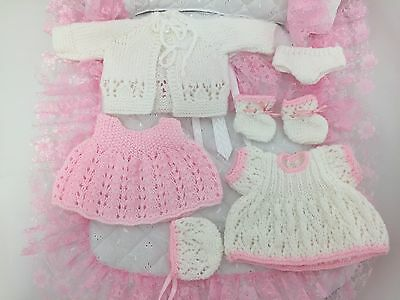 """Hand Knitted Set to fit 10"""" Baby Doll Dress Hat Panties Bootees Pinafore Cardie"""