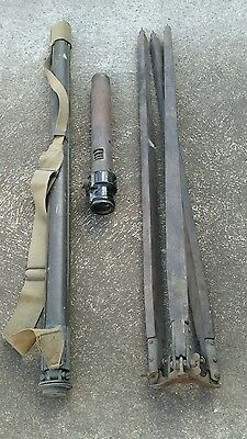 2 VINTAGE WOODEN TRIPODS WITH SIGHTING TELESCOPE 1940's