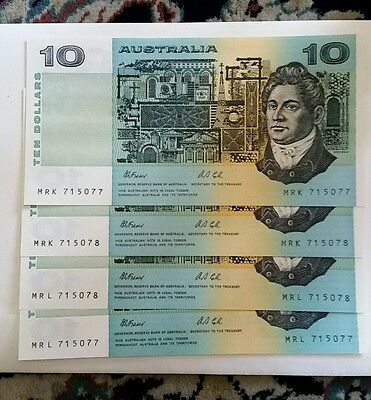 R313 $10 Fraser/cole Twin Set Of Four Notes 2 Consective Notes And Prefixs