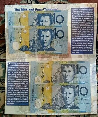 $10 Blue And Grey Tenners 4 X $10 Note Folder 1993-1998
