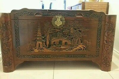Antique Chinese carved cedar chest/ trunk