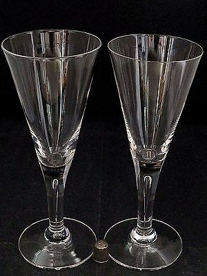 "Two (2) Dartington ""Sharon"" Pattern 7.75"" Tall Wine or Water Glasses/ Goblets"
