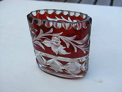 Vintage Bohemian Ruby Red Cut Crystal Glass Small Vase Superb