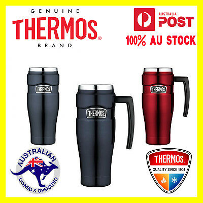Thermos S/STEEL VACUUM Insulated Travel Mug Thermo with Handle 470ml Red or Blue