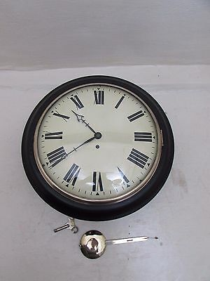 """Early Vintage Ebonised 8 Day Single Fusee 12"""" Dial Wall Clock"""