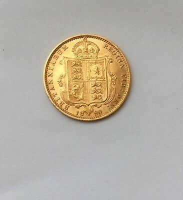 1890 Gold Half Sovereign Victoria Head Shield Back