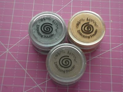 3 x COSMIC SHIMMER EMBOSSING POWDERS--SILVER--COPPER--NEW--