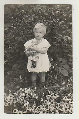 Latvia girl with doll, vintage real photo ~1935