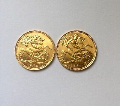 Two Gold Half Sovereigns 1982