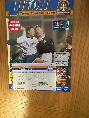 Luton v Watford 27.1 .1997 and ticket