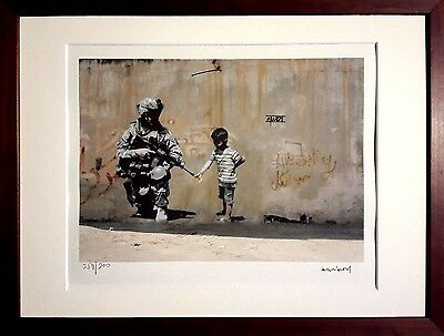 + Banksy Lithographie Soldat und Kind freedom Keith Haring Street Art limited +