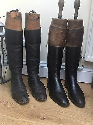 2 Pairs of Vintage Leather Horse Riding Boots Inc Wooden Boot Trees, Equestrian