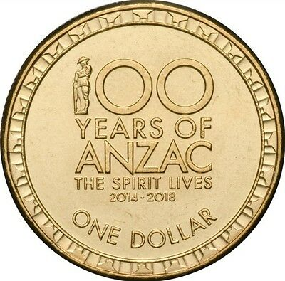 2017 $1 Coin, Centenery Of Anzacs UNC From Mint Bag