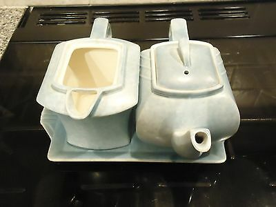 G.clews & Son Eggshell Blue Art Deco Tea Pot ,hot Water Pot And Tray