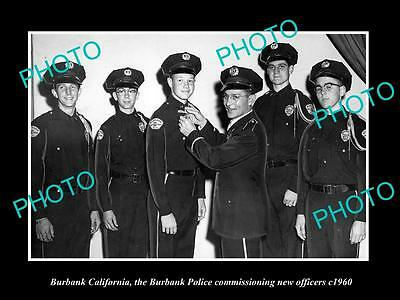 OLD LARGE HISTORIC PHOTO OF BURBANK CALIFORNIA, BURBANK POLICE COMMISSION c1960