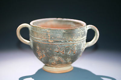 Rare Roman Republican Relief Pottery Cup with Animal Decor, c. 1st cent BC