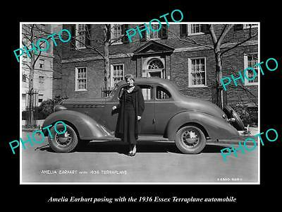 Old Large Historic Photo Of Amelia Earhart At The Essex Terraplane Launch 1936