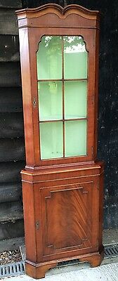 Beautiful Reproduction Yew Corner Display Cabinet