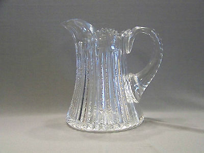 """American brilliant period cut glass pitcher icicles heavy beading 8"""" tall"""