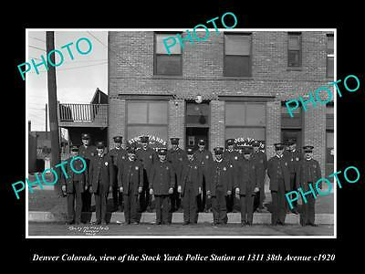 OLD LARGE HISTORIC PHOTO OF DENVER COLORADO, STOCK YARDS POLICE STATION c1920