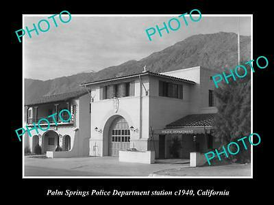 OLD LARGE HISTORIC PHOTO OF PALM SPRINGS CALIFORNIA, THE POLICE STATION c1940
