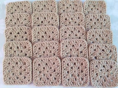 "20 4"" TAN Hand Crocheted GRANNY SQUARES Afghan Yarn Throw Blanket Blocks LACE"