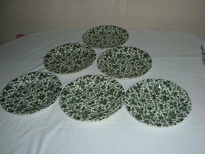 6 x BURGESS & LEIGH BURLEIGH ARDEN GREEN DINNER PLATES 9.5'' INCHES OR 24.5 CMS