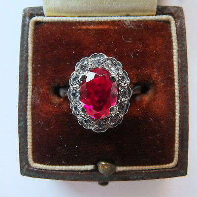 Gorgeous 9ct Gold & Silver Ring Set with Ruby & Diamond Paste Size L.5