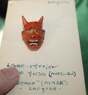 ARTIST SIGNED RED DEMON MASK Carved Lacquered Wooden Netsuke Japan
