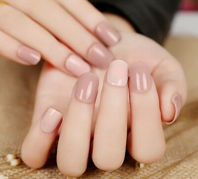 24pcs Pre Design short Fake Nails French False Nails Pink Mix Color Nail Tips