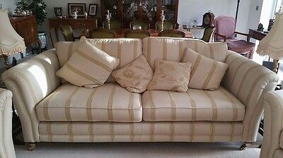 Matching Cream & Gold Armchair & Sofa In Excellent Condition
