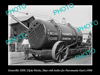 OLD LARGE PHOTO OF GRANVILLE NSW, CLYDE WORKS PARRAMATTA GAOL BOILER c1900