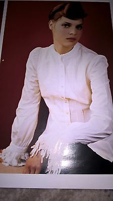 """Laura Ashley vintage blouse in white with great cuff detail. Size 16  40"""" bust"""