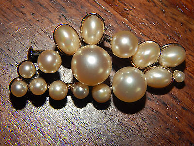 Vintage 925 Sterling Silver Gilt Faux Pearl Cluster Brooch
