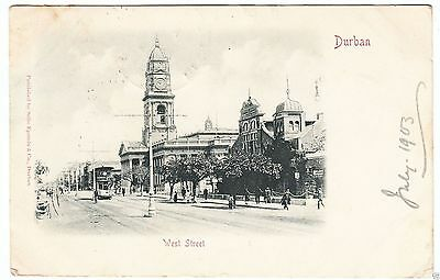 DURBAN - West Street - Tram - Natal - South Africa - 1903 used postcard