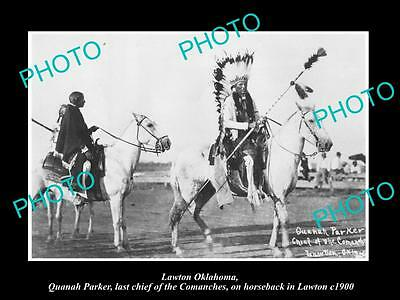 Old Large Historic Photo Of Lawton Oklahoma, The Last Comanche Indian Chief 1900