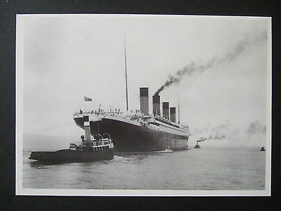R M S Titanic Postcard - The Titanic Heading Out For Trials  1912