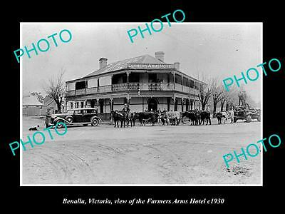 OLD LARGE HISTORIC PHOTO OF BENALLA VICTORIA, THE FARMERS ARMS HOTEL c1930