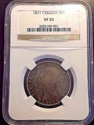 1871 No H Canada Silver 50 Fifty Cents Ngc Vf20 --Rare Canadian Half+++