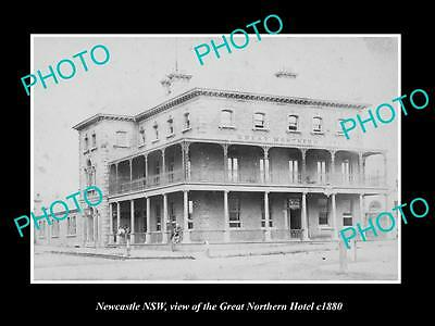 Old Large Historic Photo Of Newcastle Nsw, View Of The Great Northern Hotel 1880