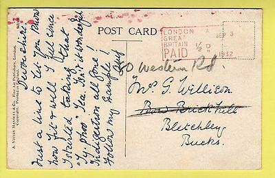 Postmark London A Great Britain ½D Paid Meter 1932  - Postcard Country Scene