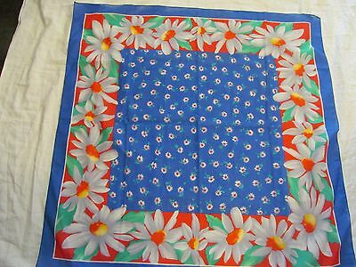 Vintage Scarf  - Blue w/ Red, Flowers  - 100% Cotton, Italy